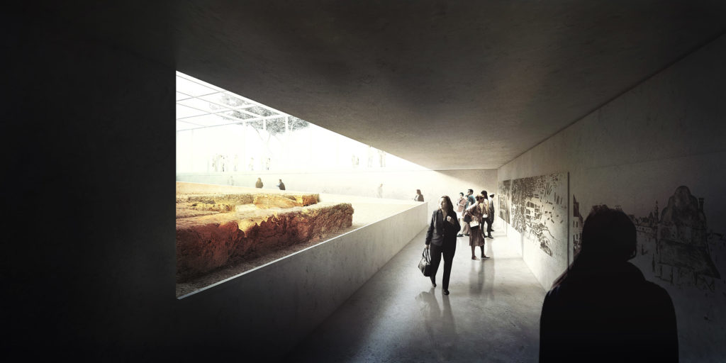 wizualizacja wejścia do podziemnej galerii