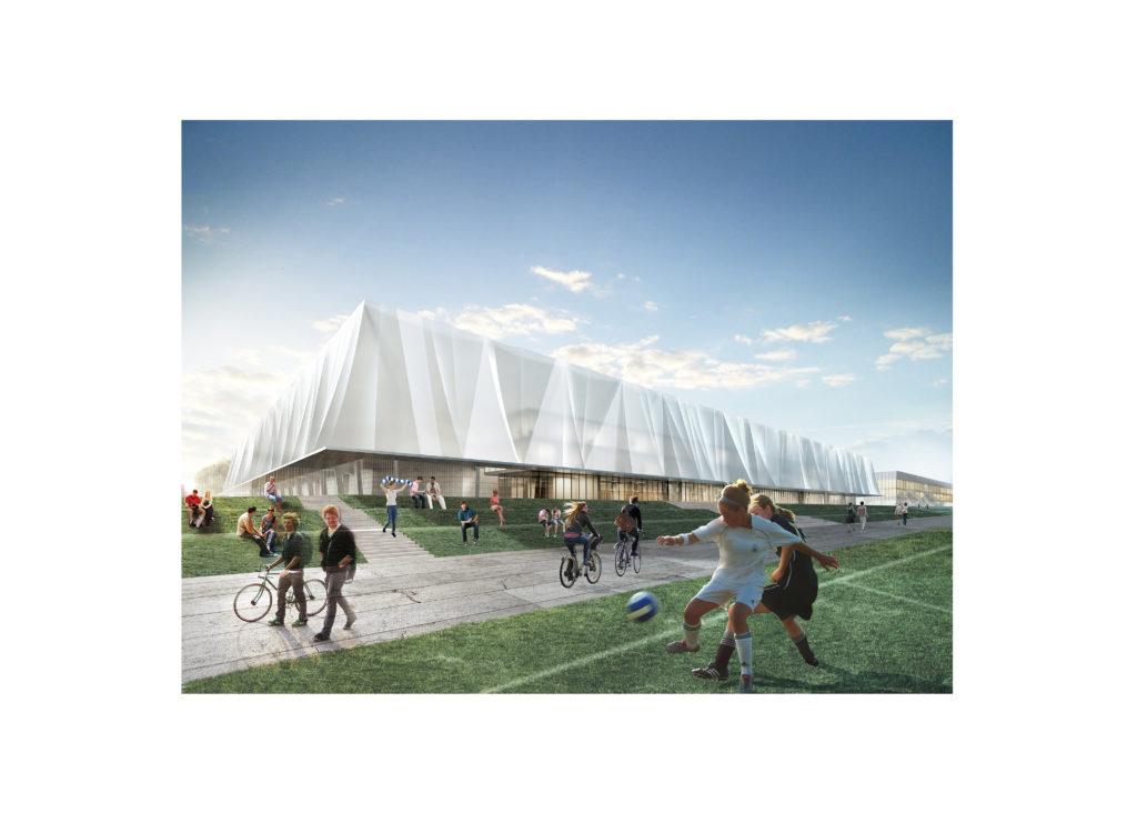widok na stadion z kubaturą użytkową