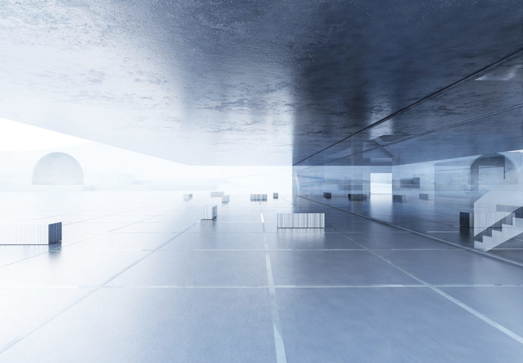 widok na strefę głównego wejścia do budynku